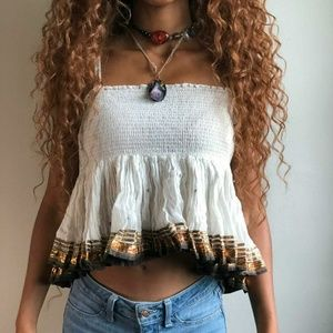Free People ruffle Strapless top